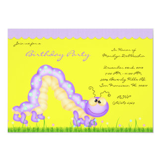 CUTE Yellow Purple Caterpillar Bug Birthday Party Card