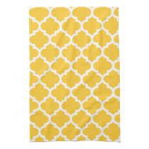 cute yellow quatrefoil towels
