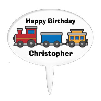Cute yellow red blue toy train custom cake topper