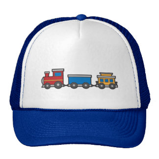 Cute yellow red blue toy train custom trucker hat