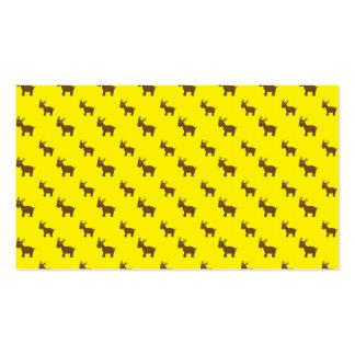 Cute yellow reindeer pattern business card template