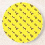 Cute yellow reindeer pattern coasters