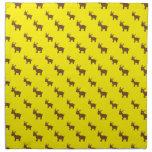 Cute yellow reindeer pattern printed napkin