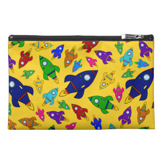 Cute yellow rocket ships pattern travel accessory bags