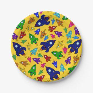 Cute yellow rocket ships pattern 7 inch paper plate