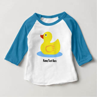 Cute Yellow Rubber Duck Name Customize Baby T-Shirt