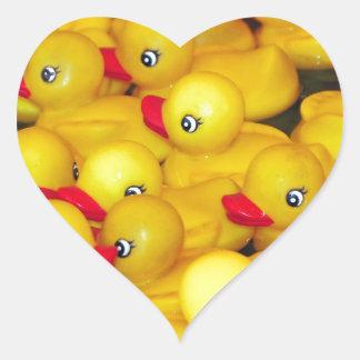 Cute yellow rubber duckies heart sticker