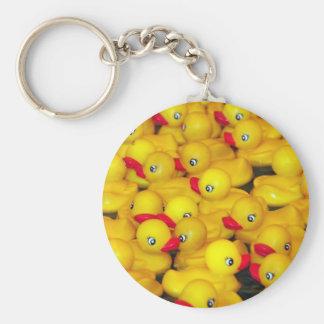 Cute yellow rubber duckies keychain