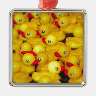Cute yellow rubber duckies metal ornament