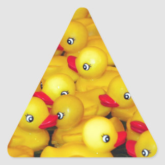 Cute yellow rubber duckies triangle sticker