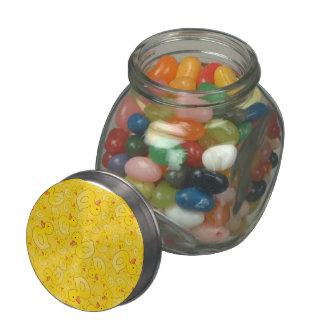 Cute yellow rubber ducks glass candy jar