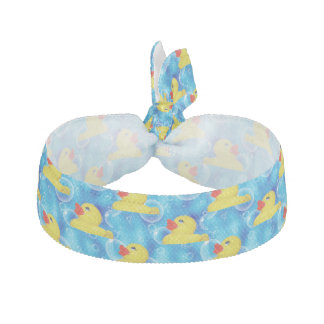 Cute Yellow Rubber Ducks Floating in Bubbles Hair Tie