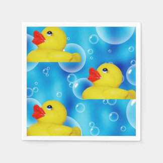 Cute Yellow Rubber Ducks Floating in Bubbles Standard Cocktail Napkin