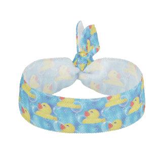 Cute Yellow Rubber Ducks Floating in Bubbles Ribbon Hair Tie