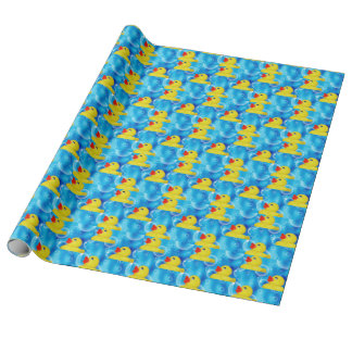 Cute Yellow Rubber Ducks Floating in Bubbles Wrapping Paper
