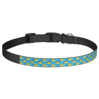Cute Yellow Rubber Ducks Floating in Bubbles Dog Collar