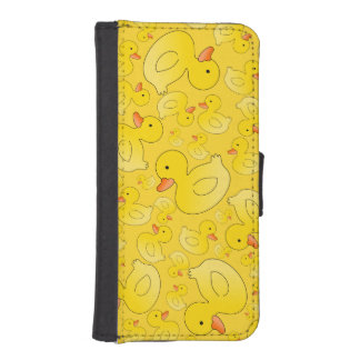 Cute yellow rubber ducks phone wallet case