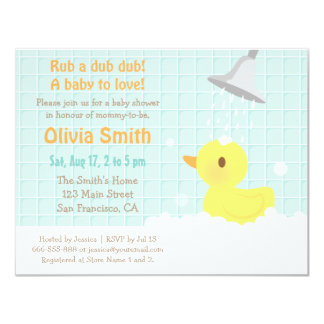 Cute Yellow Rubber Ducky Baby Shower Invitations