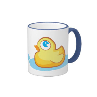 Cute yellow rubber ducky with bubbles mug