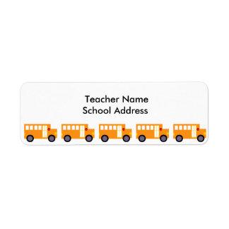 Cute Yellow School Bus for Teacher School Label