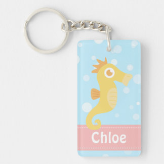 Cute Yellow Seahorse for Underwater Theme Keychain