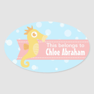 Cute Yellow Seahorse for Underwater Theme Oval Sticker