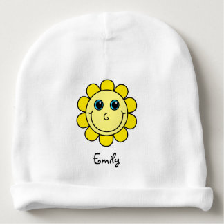 Cute Yellow Smiley Face Flower Monogram Baby Beanie