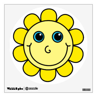 Cute Yellow Smiley Face Flower Wall Decal
