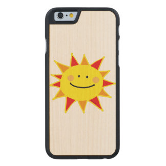 cute yellow smiley sun cartoon carved® maple iPhone 6 slim case