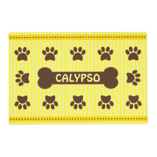 Cute Yellow Stripes Brown Bone Dog Paws Two Sided Placemat