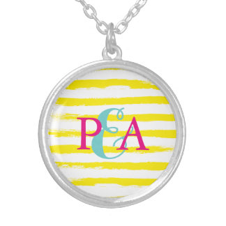 Cute Yellow STRIPES Couple Monograms Brushstrokes Round Pendant Necklace