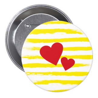 Cute Yellow STRIPES Hearts Brushstrokes Pinback Button