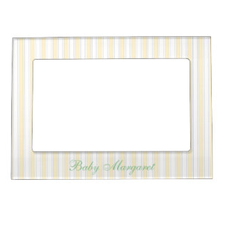Cute Yellow Stripes Magnetic Frame