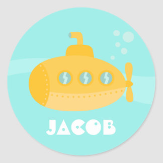 Cute Yellow Submarine, Ocean Vessel, For Kids Classic Round Sticker