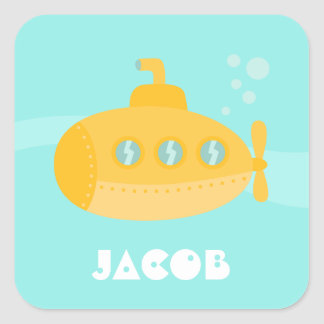Cute Yellow Submarine, Ocean Vessel, For Kids Square Sticker