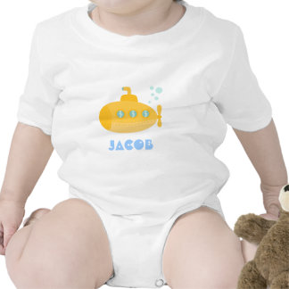 Cute Yellow Submarine, Underwater, For Babies Rompers