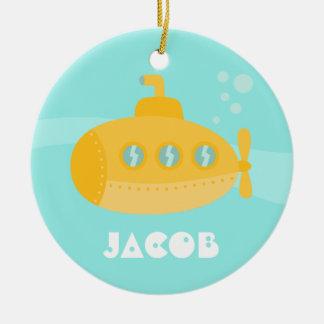Cute Yellow Submarine, Underwater, For Boys Ceramic Ornament