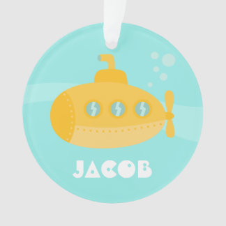 Cute Yellow Submarine, Underwater, For Boys Ornament