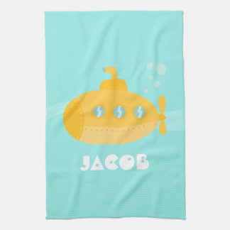Cute Yellow Submarine, Underwater, For Kids Hand Towel