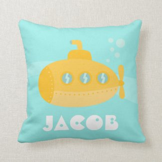 Cute Yellow Submarine, Underwater, For Toddlers Throw Pillow