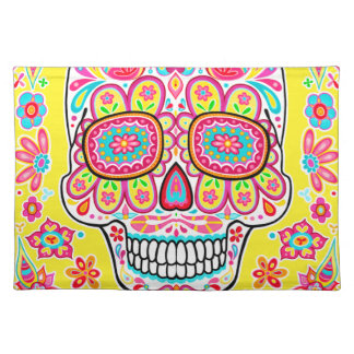Cute Yellow Sugar Skull Placemat - Day of the Dead