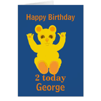 Cute yellow teddy bear, add age and name front greeting card