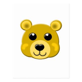 cute yellow teddy bear face postcard