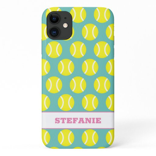 Cute yellow tennis ball pattern personalized iPhone 11 case