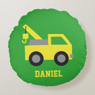 Cute Yellow Tow Truck Vehicle Boys Room Decor Round Pillow