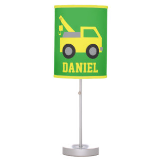 Cute Yellow Tow Truck Vehicle Boys Room Decor Table Lamp