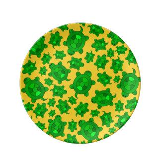 Cute yellow turtle pattern porcelain plate