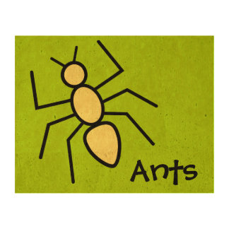 Cute Yellow Vector Ant (Grass Green Background) Cork Paper Print