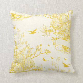 Cute Yellow Vintage Floral Design Throw Pillow