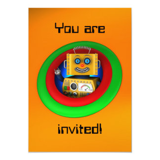 Cute yellow vintage toy robot card